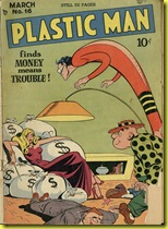 Sexy lady sits on money bags Plastic man 16 cover Jack Cole