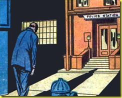 Art of a man on drak street in this vintage old classic collector's comic book