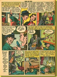 Old comic book cartoon drawingsof businessmen shooting guns in Web of Evil 5.
