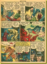 Rare vintage back issue comic book page showing a man strangling a woman and another man in the 1953 Quality Comics magazine Web of Evil.