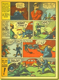 Cartoon gangsters and violence in old back issue comic book story by Plastic Man artist Jack Cole