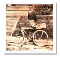 Comic book artist Jack Cole and his bicycle in 1932