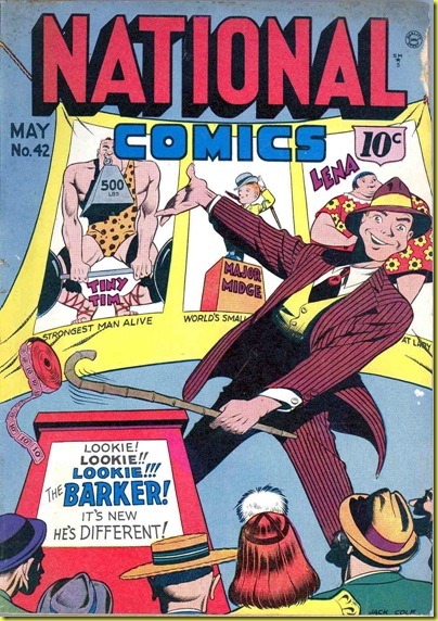 Cartoon of carnival barker in front of freak sideshow banners golden age comic book.