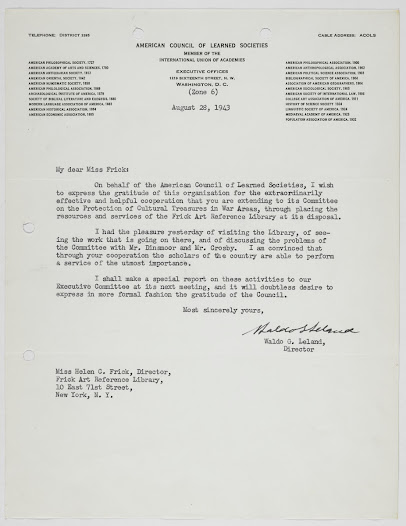 Letter from Waldo Leland, Director of the American Council of Learned Societies, to Helen Clay Frick expressing his approval of the implementation of the project after a visit to the Library.