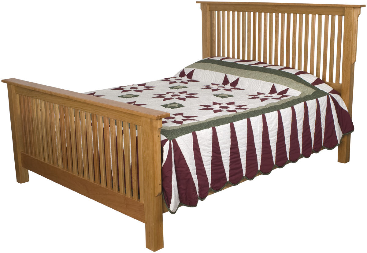 Mission bed frames solid wood bed frame in the mission style for Mission style bed frame plans
