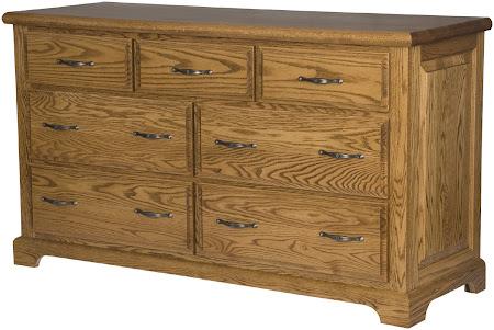 Hudson Horizontal Dresser in Medium Oak, Custom Hardware