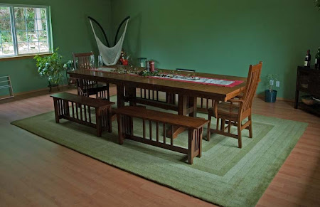 Trestle Table and Corbel Mission Benches in Lexington Oak