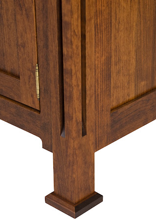 Sacramento Nighstand in Blackened Oak, Leg Detail Closeup