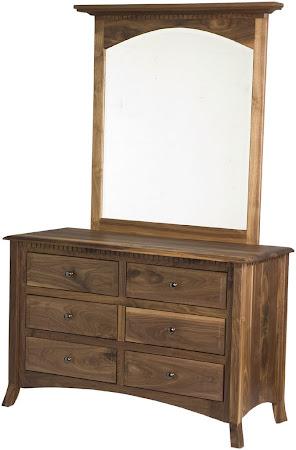 Lisbon Horizontal Dresser with Mirror, Peppercorn Cherry