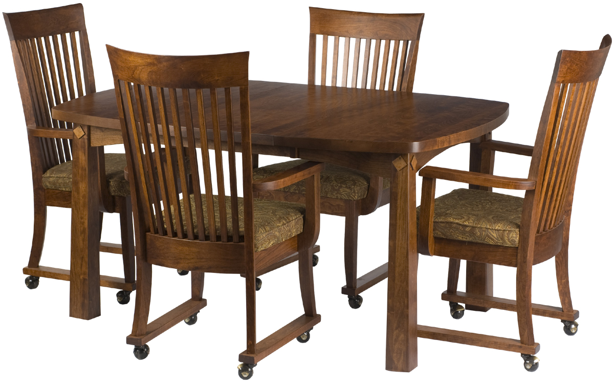 42 X 42 Shaker Dining Table And Lancaster Chairs With Casters, Antique  Cherry. «»