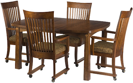 42 x 42 Shaker Dining Table and Lancaster Chairs with Casters, Antique Cherry