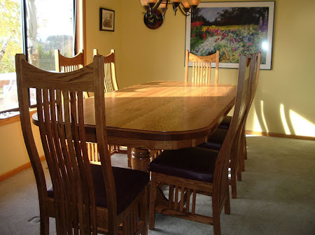 "100"" x 46"" Riverside Dining Table & Western Chairs, Oak Hardwood, Medium Finish"