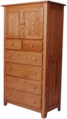 Shaker Armoire Dresser in Medium Oak