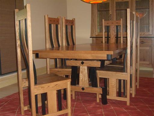 "70"" x 42"" Shenzen Table and Shenzen Chairs in Medium and Midnight Oak"