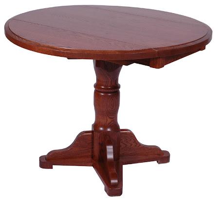 42 Inch Round Tabletop, Riverside Base, Autumn Oak Hardwood