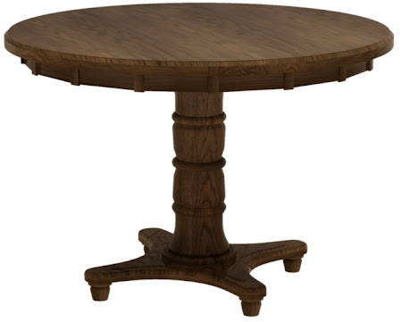 Lotus Round Table with Tabletop in Mahogany Oak