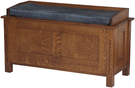 "36"" wide Sacramento Chest in Mahogany Quarter Sawn Oak, Shown with Custom Rail and Padded Seat"