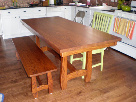 72 x 32 Montreal Dining Table and Bench in Lexington Oak
