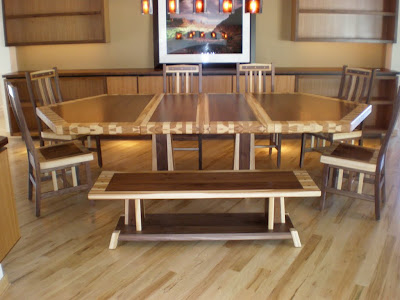 80 x 56 Custom Mixed Wood Double Border & Timber Edge Dining Table in Natural Hickory & Walnut, Bench & Raised Mission Chairs