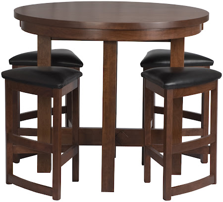 """42"""" Diameter Barcelona Table Shown in Chocolate Cherry, Shown with Barcelona Barstools & Leather Seats"""