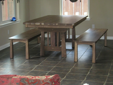 "70"" x 42"" Eastern Table and Shaker Benches in Natural Walnut"