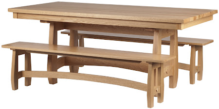 """72"""" x 36"""" Montreal Table and Benches, Natural Oak"""