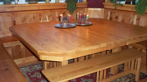 """60"""" x 60"""" Plains Mission Dining Table and Bench in Honey Oak"""