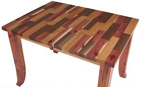 42 x 43 Pennsylvania Kitchen Table in Custom Walnut, Cherry and Cedar