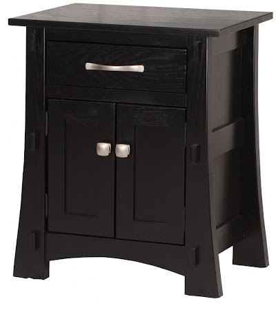 Seville Nightstand with Doors, in Midnight Oak, Custom Hardware