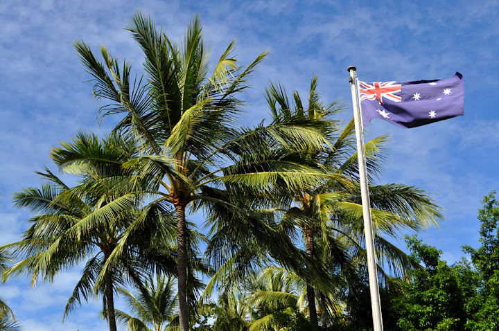 The Australian flag over ANZAC Park in Towansville, Queensland.
