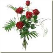 cinco rosas rojas