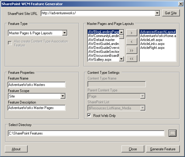 SharePoint WCM Feature Generator
