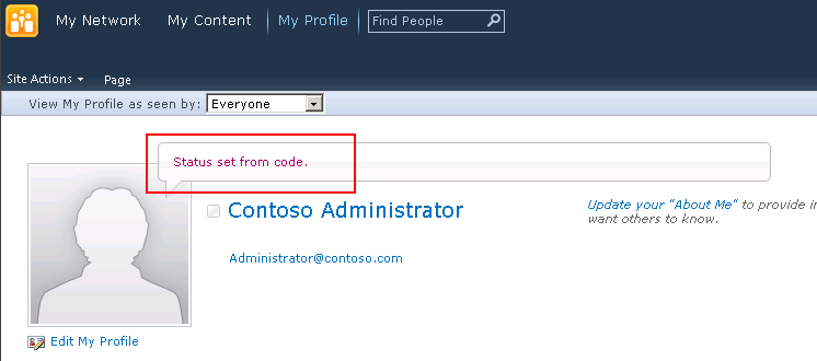 My Site status.
