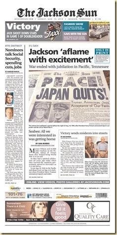 20100815The Jackson Sun-刊出當年日本戰敗頭版