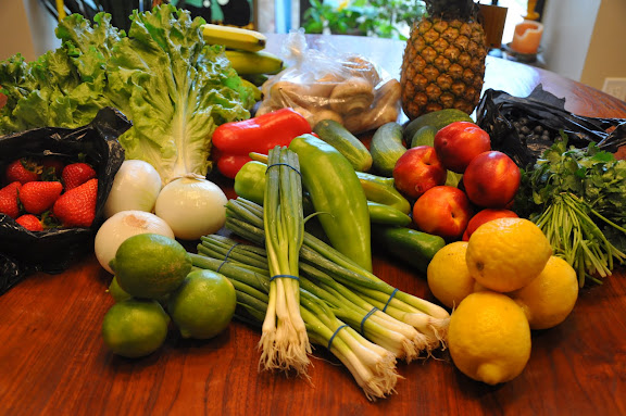 We bought an entire week's worth of fresh fruits and vegetables for only $22!