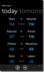 NBA Scores Lite for Windows Phone 7 (click to enlarge)