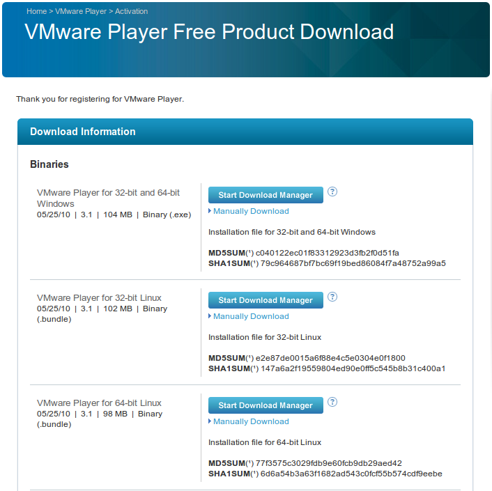 VMware player