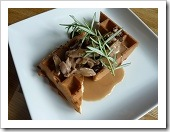 Meat in Dried Fruit & Herb Sauce over Wild Rice Waffles