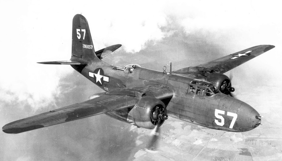 Douglas A-20G-20-DO No. 57 (S/N 42-86657) in flight. (U.S. Air Force photo)