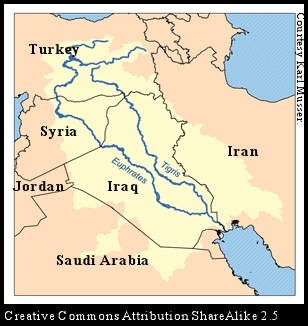 the gallery for gt euphrates river location on world map