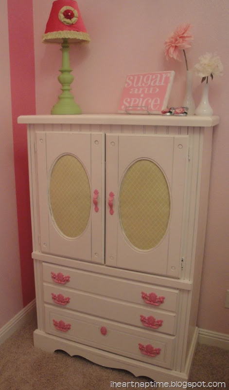 refinished armoire for little girls nursery