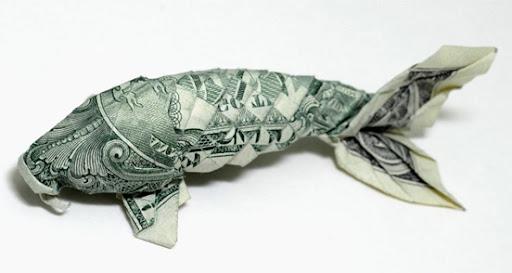 Amazing paper folding origami using money for Dollar bill koi fish