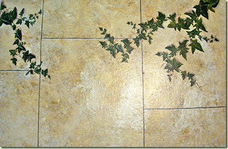 faux stone with ivy