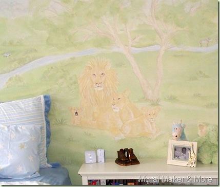lion family mural
