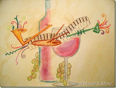Wine & Jazz painting