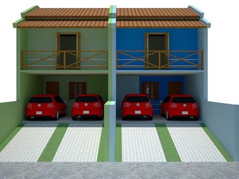 fachadas de sobrados geminados