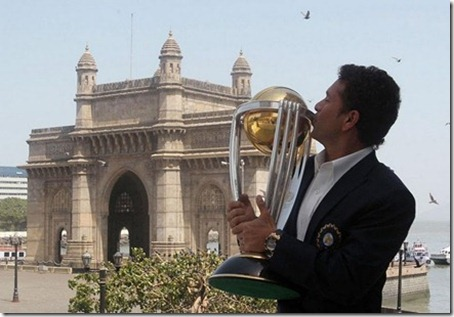 World Cup Trophy in Front of the Gateway of India