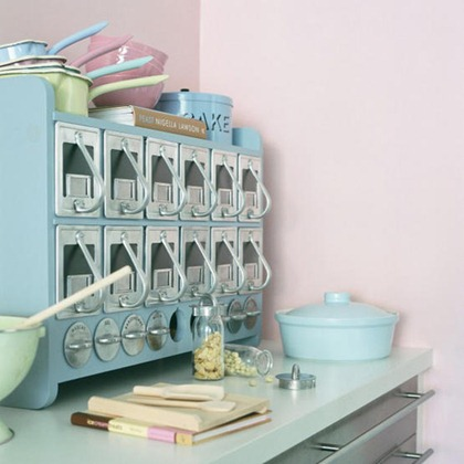 Accessories: retro, vintage style; 1950's/'50's/50's/50s/fifties;  pale blue  storage cabinet, worktop, saucepans. accessories. Pub orig  L etc 03/2005 p38