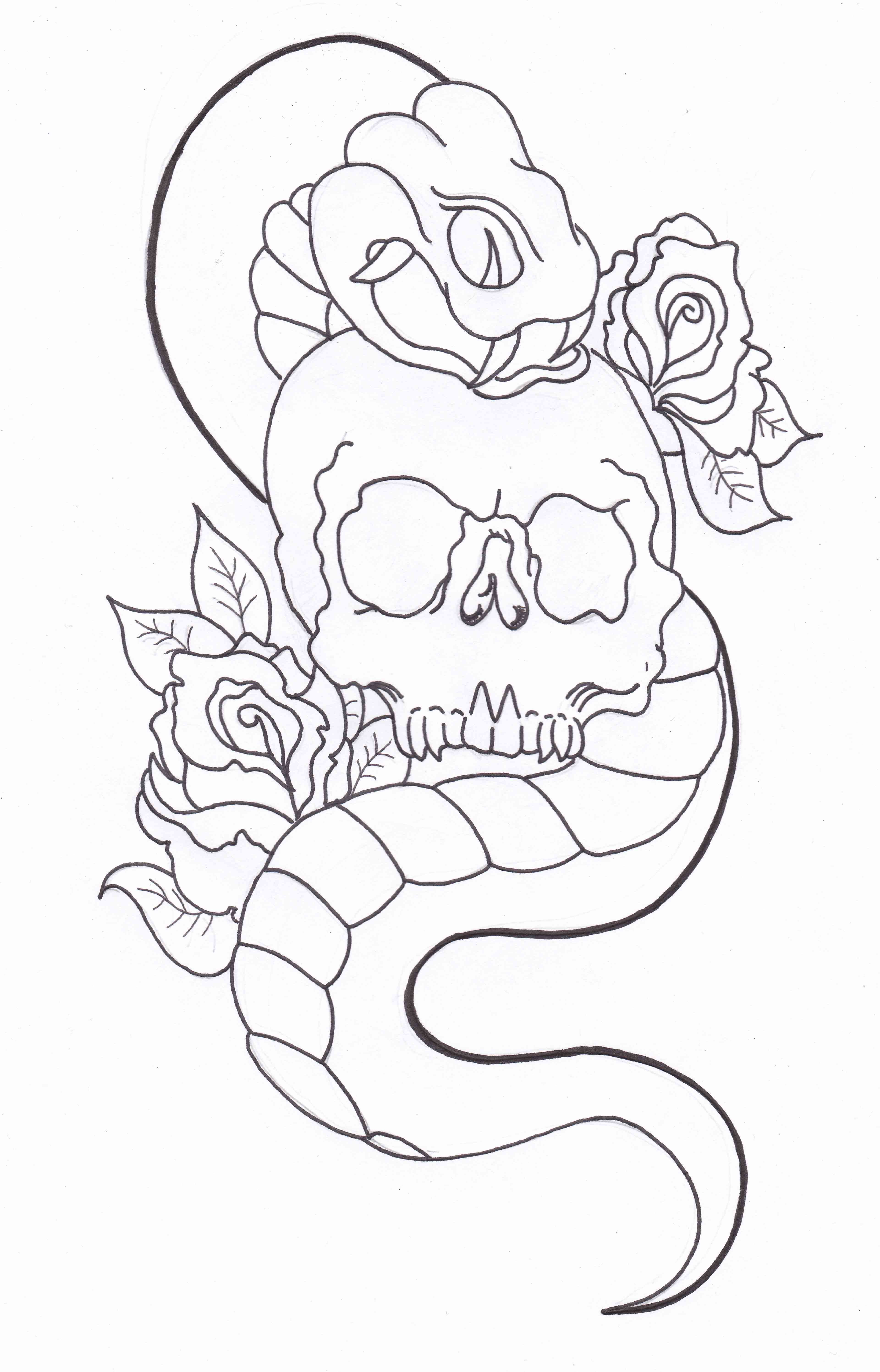Free Coloring Pages Of Snake And Skull