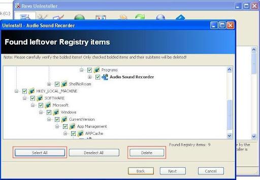 Revo Uninstaller registry